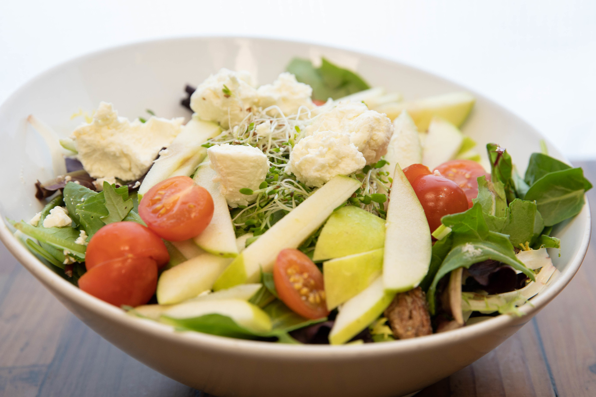 fresh ingredients in signature salads at Sugar and Spice Cafe